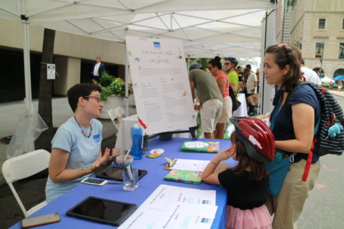 NY4P sharing open space resources at a Summer Streets event