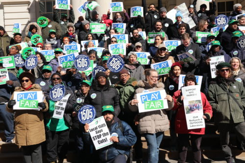 A Play Fair campaign rally in February 2019. Play Fair culminated in an additional $44 million being allocated to the NYC Parks Department budget. Photo by NY4P.