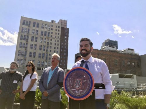 "Councilmember Rafael Espinal. Original caption: ""Councilmember Rafael Espinal introduced legislation to mandate green roofs on all new NYC buildings. Photo credit: BK Reader."" Retrieved from: https://www.bkreader.com/2018/08/01/councilmemember-espinal-launches-citys-first-urban-agriculture-website/"