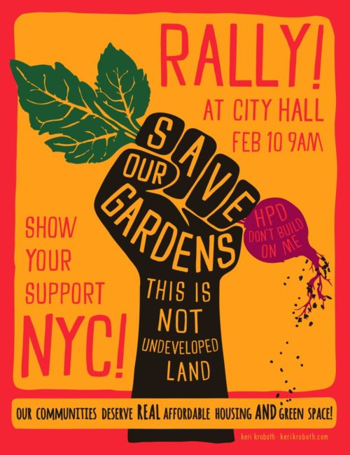 A flyer advertising a rally in support of community gardens' formal preservation. Retrieved from the Bushwick Daily at https://bushwickdaily.com. Original credit to Keri Kroboth of El Garden.