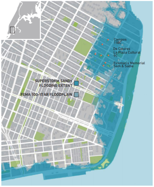 "A map from the Gardens Rising report showing Hurricane Sandy's flooding and the 100-year floodplain in relation to Manhattan's Lower East Side and its community gardens and open spaces. Original caption: ""Seven gardens in the study area were inundated during Superstorm Sandy. The extent of the flooding was very close to FEMA's 100-year floodplain, mapped here to show the potential future impacts of a similar storm system on the Lower East Side."" Retrieved from: http://gardensrising.org/wp-content/uploads/2016/12/161205_Report100F.pdf"