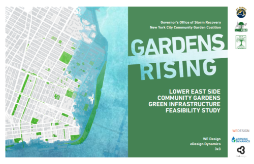 "The cover of the report commissioned by the New York City Community Garden Coalition on behalf of the Governor's Office of Storm Recovery. Released in 2016, the report is called ""Gardens Rising: Lower East Side Community Gardens Green Infrastructure Feasibility Study."" It was done by WE Design, eDesign Dynamics, and 3x3. Retrieved from: http://gardensrising.org/wp-content/uploads/2016/12/161205_Report100F.pdf"