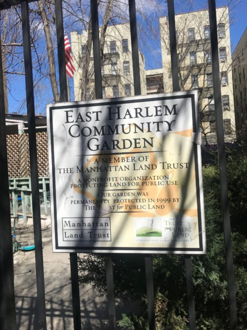 A sign on a Manhattan Land Trust community garden in Harlem. Photo by Jessica Saab for NY4P.