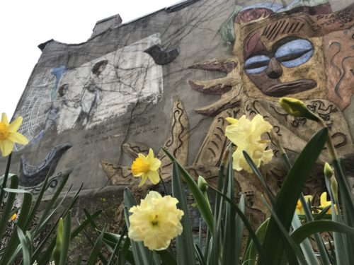 The sculpture and mural at the Carmen Pabon del Amenecer Jardín, in the Lower East Side. Created in 1986, elected officials were able to argue for its preservation on the basis that it was not just a mural, but a sculpture, too. Photo by Jessica Saab for NY4P.