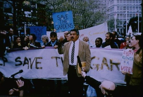 Protests to save the community gardens from being sold. Photo retrieved from GrowNYC.