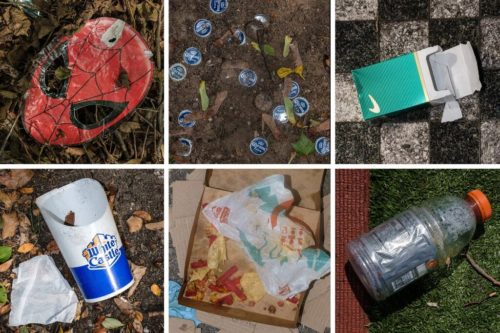 """From The New York Times: """"Trash on the ground in Bronx Park, Soundview Park and Horseshoe Playground in the Bronx"""" Photo by Sarah Stacke."""