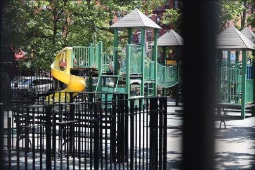 An East Village park on Houston Street was closed during the coronavirus epidemic, June 9, 2020. Photo by Carson Kessler/THE CITY.